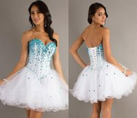 short tulle prom dress - 2014 Homecoming Dresses Sweetheart Rhinestones Tulle Tiered Ruffles Short Mini Lace Up Back Party Formal Cocktail Prom Dresses