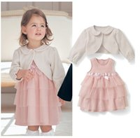 baby capelet - Long Sleeve Tulle Ball Gown Suits Capelet Two piece Sets Autumn New Baby Girls Princess Dress Outfit B0770