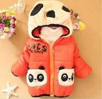 Wholesale Warmer Down Coat Children Clothing Kungfu Panda Cartoon Outwear Child Girl Boy Winter Thickening Outerwear Coat Kids Cotton padded Jacket