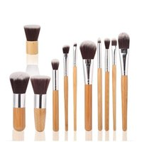 cosmetics - 11pcs Professional High Quality Bamboo Makeup Brush Set Goat Hair Cosmetic Makeup Brushes Kit With Bag Make Up Tools Portable Cosmetic Brush
