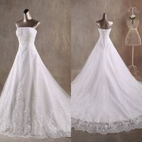 dresses in china - 2015 Wedding Dresses Strapless Off The Shoulder Draped Beads Lace White Bridal Gowns With Lace up Back Made In China AC70
