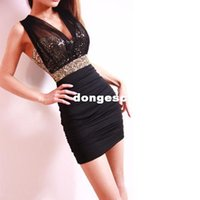 Cheap Summer Dress 2015 New Tight Package Hip Bodycon Luxury Sexy Club Lace Dress Satin Bust Waist Sequined Backless Party Dresses