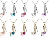 ballet glass - Free DHL Crystal Ballet Shoe Glass Slipper Cinderella Pendant Necklace silver pendant necklaces