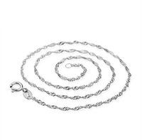 Silver Plate/Fill asian wave - 2016 Promotion Sales Solid Silver Beautiful Water Wave Necklace Singapore Chain With Lobster clasps