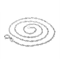 Wholesale Promotion Sales Solid Sterling Silver Beautiful Water Wave Necklace Singapore Chain With Lobster clasps