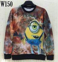 animated space cartoons - w151212 Mikeal Men women d sweatshirts printed Animate alien casual Space Galaxy hoodies Cartoon hoody men top W150