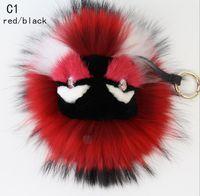 Wholesale 18 style option Fashion Keyring Bag Car Keychain Charm Fox Fur Monster Pom Pom Doll Ball Pendant