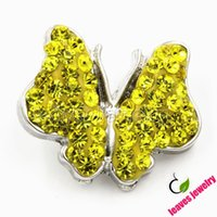 beautiful slaps - yellow gold crystal butterfly metal snap button animal snap jewelry buttons for snap bracelets Beautiful like a butterfly