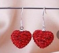 ab crystal jewelry - new style fashion new ab clay Heart Crystal Shamballa earring Silver plated Rhinestone Disco Crystal Bead fashion women jewelry Gift