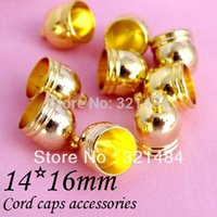 Cheap Gold plated 200piece 14x16mm Cord end caps, cord crimp ends for leather cord 13mm necklace bracelet diy