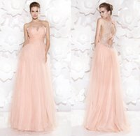 Cheap 2015 Tarik Ediz Long Evening Dresses Sheer Crew Neck Sleeveless See Through Back with Beading Bow Floor Length A-Line Formal Prom Dress