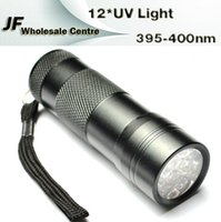 Cheap New Invisible 12 LED Ultra Violet UV Purple Light Torch Flashlight Aluminum Anti-fake Torches 3 x AAA Batteries Camping