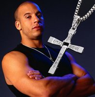 wholesale cross pendants - 1PC Retail The Fast and Furious Cross Necklace Actor Toledo Diamond Pendant Silver Golden Color Men Fashion Jewelry Christmas Promotion Gift