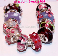 Wholesale 50PCS Sterling Silver Purple Pink Murano Glass Lampwork Beads fit European charm bracelet