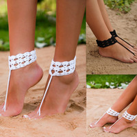 Romantic barefoot sandal wedding - Black Crochet Barefoot Sandals Nude shoes Foot jewelry Wedding Victorian Lace Sexy Yoga Anklet Bellydance Steampunk Beach Pool
