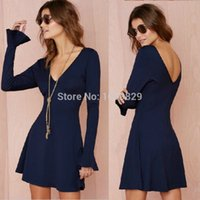 Wholesale High Quality New Women Casual Dress Vestidos Long Flare Sleeve Deep V Neck Solid Color Lady A Line Mini Dresses CJL