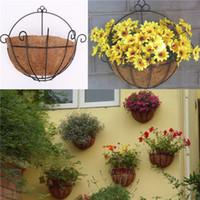 Wholesale Semicircular Wall Windowss Wrought Iron Hanging Flower Basket Decorative Coir Planters Decoration For Garden
