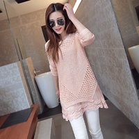 sweater - New Arrival Lace Sweater Dress Long Knitted Women Sweaters and Pullovers Hollow Out Patchwork Feminino Sweaters QL508
