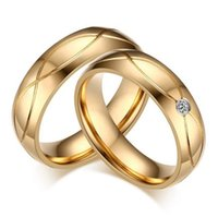 Wholesale FOGEOS New Stainless Steel K Gold Plated CZ Couple Wedding Bands Rhinestone Rings for Man Woman Engagement Valentine Gift