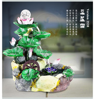 artificial money plant - lotus style indoor air humidity water fountain resin crafts fengshui rockery artificial ornaments home decoration