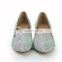 ballet flats multi - 2015 Luxury New Multi color Rhinestone Crystal Pointed Toe Wedding Dancing Prom Women Shoes CM Low Wedge Heel Custom Made LSDN1064