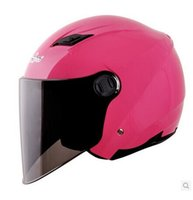 Wholesale ANDES C Style portable type ABS Ultralight Scooter Open Face Casco Motorbike Casque Motorcycle Bright Pink Helmet Lens Adults