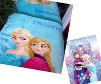 Wholesale DHL EMS FREE Elsa FROZEN blanket princess Anna cartoon coral fleece blankets x200cm towel blanket bathrobe children s bedding