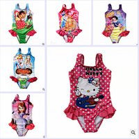 belle swimwear - 10 color kids Swimwear one piece Girls Beachwear princess belle Cinderella Snow White Aurora Swimming Suit LJJA2174