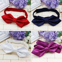 baby accesory - Fashion low price baby bow tie tuxedo cute performances accesory Solid Red Microfiber Silk Bow Tie A071104
