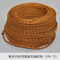 Wholesale Edison MM2 Vintage golden knitted cloth electrical wire copper retro electrical wire pendant light lamps line meters