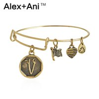ani v - Alex Ani Initial V Antique Gold Charms Bangles Expandable Steel Wire Bracelets Men Women Costume Jewelry AL1422
