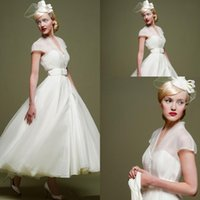 Wholesale 2015 Spring Vintage Wedding Dress Little Short Beach Cheap Covered Button V Neck Tulle Short Chiffon Wedding Gowns