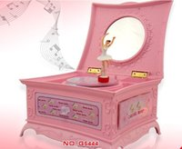 ballerina mirror - FBH040230 Music box Girls birthday gift mirror jewelry box ballerina Rotation pink With light