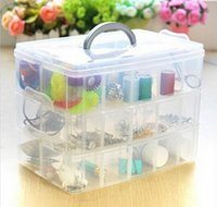 Wholesale Retail three layer detachable transparent plastic finishing box storage Jewelry Box Kit