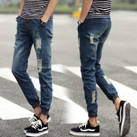 best ripped jeans - Summer Style Jeans Men Fashion New Solid Denim Joggers Quality Mid Waist Simple All Match Ripped Jeans Your Best Choice Hot