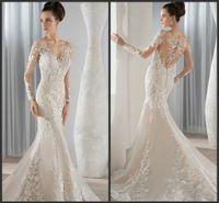 Cheap Demetrios Mermaid Wedding Dresses Covered Button Sheer Scoop Neckline 2015 Illusion Long Sleeves Appliques Lace KR Bridal Gowns Chapel Train