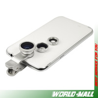 lens optical - 3 In Universal Clip Mobile Phone Lens Fish Eye Macro Wide Angle for Apple iphone s s c Samsung HTC multi coated optical glass