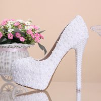 Round Toe beautiful shoes - 2015 New Arrival Cheap High Quality White Beautiful Vogue Lace Pearl Crystal High Heels Wedding Bridal Shoes