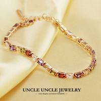 Wholesale New Arrival Multicolor Crystal Woman Bracelet K Rose Gold Plated Pieces Rectangle Zirconia Setting Lady Bracelet KRGP