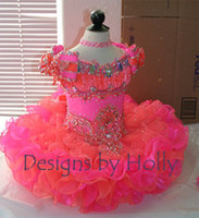 Wholesale 2016 Princess Flower Girl Dresses Cap Sleeve Crystal Coral and Pink Organza Mini Short Ball Gown Girl Pageant Dresses Little Baby Kids Gown