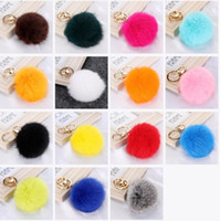 Wholesale Fashion Cute Genuine Leather Rabbit Fur Ball Plush Key Chain For Car key Ring Bag Pendant car keychain Gold Silver Chain CM