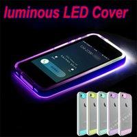 LED luminosa cubierta de alta velocidad de fecha de carga LED de cable de relámpago hasta transparente transparente TPU + ACRYLIC caso trasero para el iPhone 5S 4 6 6 más iPhone6