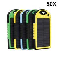 Wholesale 50X mAh Solar power Charger and Battery Solar Panel waterproof shockproof Dustproof portable power bank for Mobile Cellphone Laptop TY