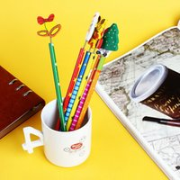 bell fountain - 6 set Santa Snowman Tree Bell Cartoon Wooden Pencils Christmas Gifts For Children