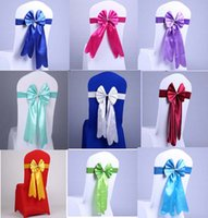 Wholesale Fashion silk fabric chair covers sash satin ribbon bows for weddings banquet arrangements party event supplies