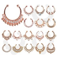 Wholesale new fake nose ring Medical Titanium Crystal rings septum Piercings silver nose For Women Body Hoop nose colors
