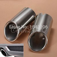 Pipes exhaust pipe for muffler - 2x Stainless Steel Chrome Exhaust Tail Rear Muffler Tip Pipe For Audi A4 A4L B8 Q5
