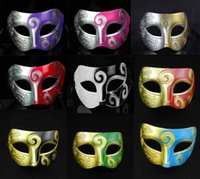 Wholesale Multicolor Men Mask Retro Roman Gladiator Halloween Party Facial Masquerade Mask Venetian Dance Party Mask Half Face Mask