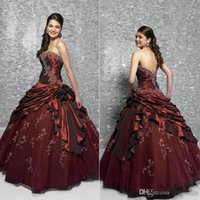 Wholesale Cheap Quinceanera Dresses Navy Blue Red Sweet Gown With Beads Sequin Embroidery Appliques Real Sample Fashion Strapless Free Pannier