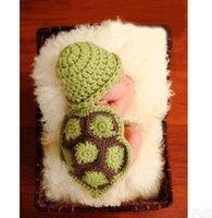 Cheap 2015 New Hot Newborn Baby Clothes Set Turtle Knit Crochet Clothes Beanie Hat Outfit Photo Prop Costume Roupas De Bebes Y7051